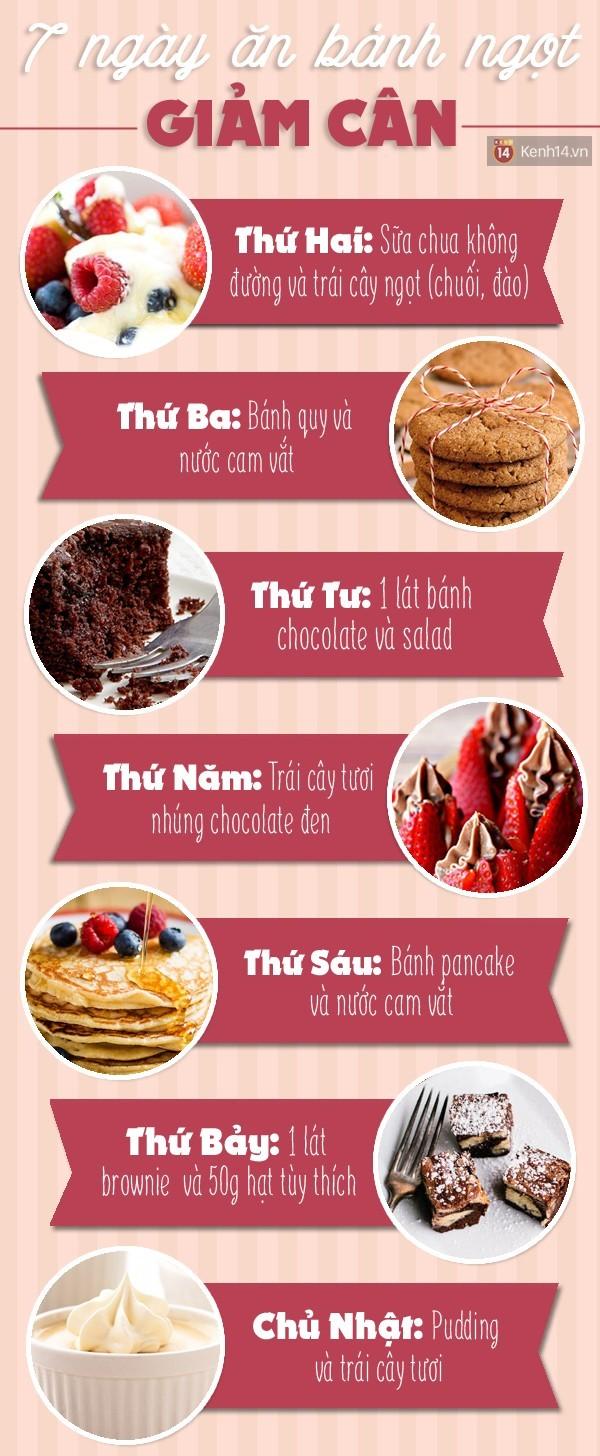 7 ngày ăn bánh ngọt đúng cách để giảm 1kg cân nặng