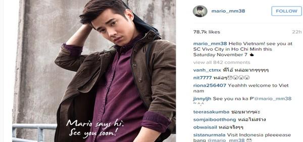 Mỹ nam hàng đầu Thái Lan Mario Maurer bất ngờ gửi lời chào đến fan Việt