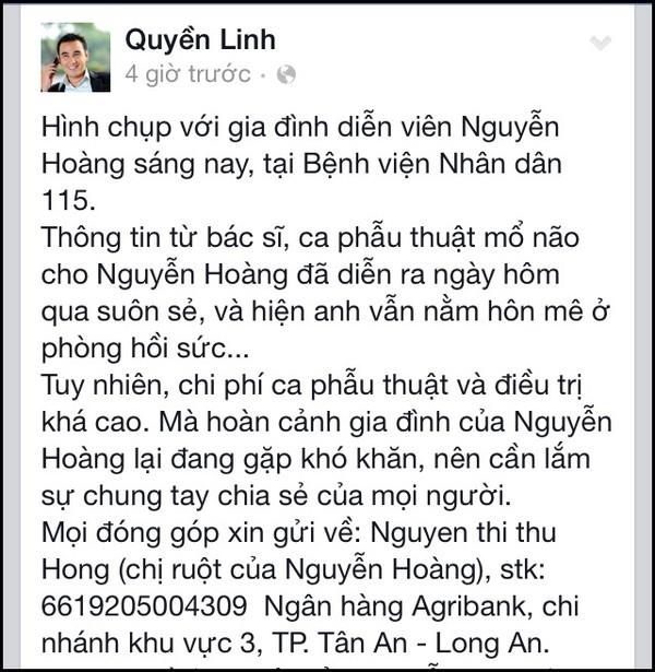 Quyền Linh kêu gọi giúp đỡ diễn viên Nguyễn Hoàng