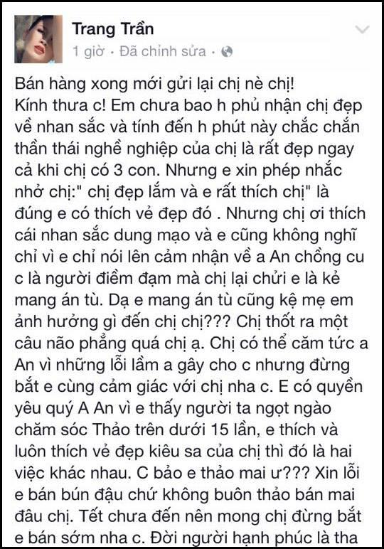 """Trang Trần đáp trả Ngọc Thúy: """"Em ở tù cũng kệ em chị nhé!"""""""