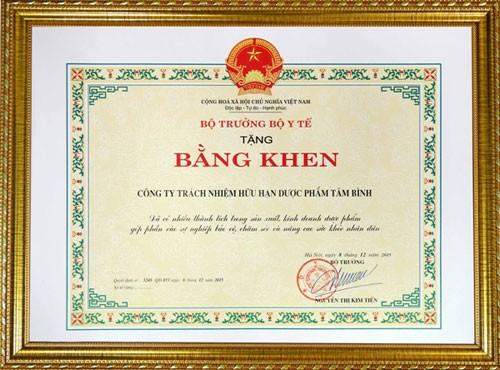 Tâm Bình nhận bằng khen của Bộ trưởng Bộ Y tế