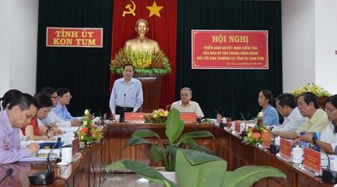 Triển khai quyết định kiểm tra của Ban Bí thư với Ban Thường vụ Tỉnh ủy Kon Tum