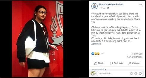Nữ sinh Việt 15 tuổi mất tích ở Anh, cảnh sát kêu gọi cộng đồng tìm kiếm