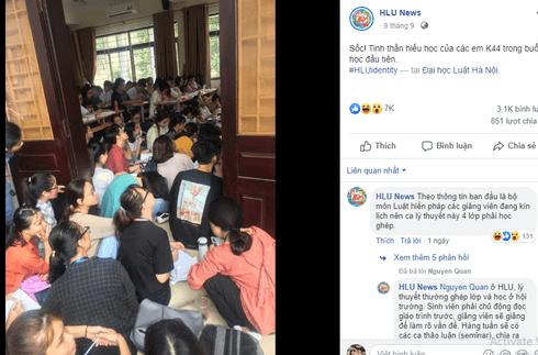 Bức ảnh sinh viên ĐH Luật ngồi học chật kín hành lang gây 'bão' mạng xã hội