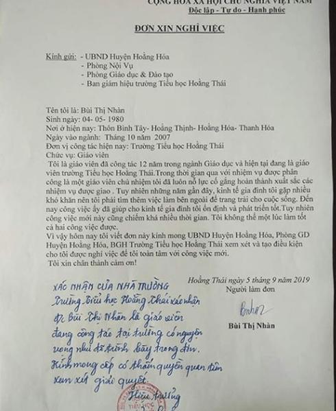 Xót xa với lá đơn của cô giáo xin nghỉ việc vì 'lương không đủ sống'