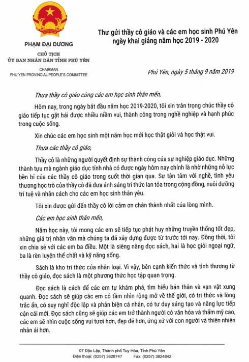 MXH chia sẻ bức thư của CT Phú Yên gửi giáo viên và học sinh nhân ngày khai trường