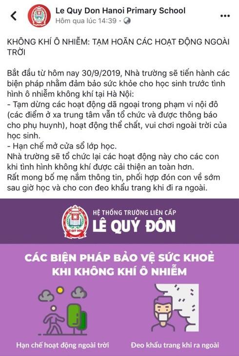 Ô nhiễm không khí tại Hà Nội: Trường học dừng hoạt động ngoài trời