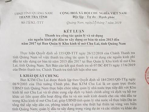 Quảng Nam: Thanh tra chỉ rõ hàng loạt sai phạm tại khu kinh tế mở Chu Lai