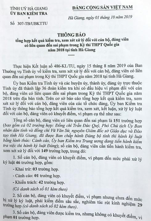 Danh sách 151 cán bộ, đảng viên Hà Giang liên quan đến sai phạm trong Kỳ thi THPT