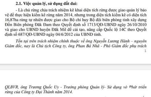 Đắk Nông: Chủ tịch Công ty Lâm Nghiệp Đại Thành bất ngờ với Kết luận thanh tra