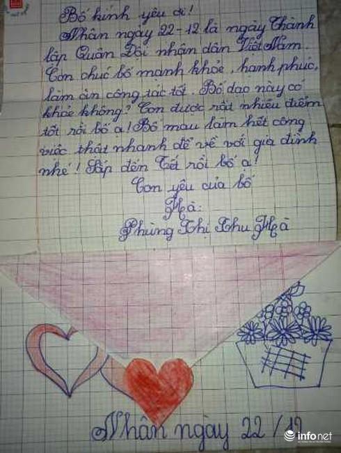 Lá thư của bé gái 9 tuổi gửi bố là sỹ quan quân đội khiến bao trái tim lay động