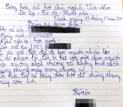 Đi học muộn vì thang máy, học sinh viết bản kiểm điểm cười rách cả miệng